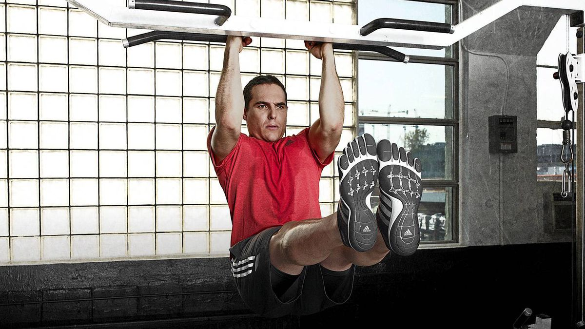 Michael Cammalleri of the Calgary Flames works out in the adipure trainer.
