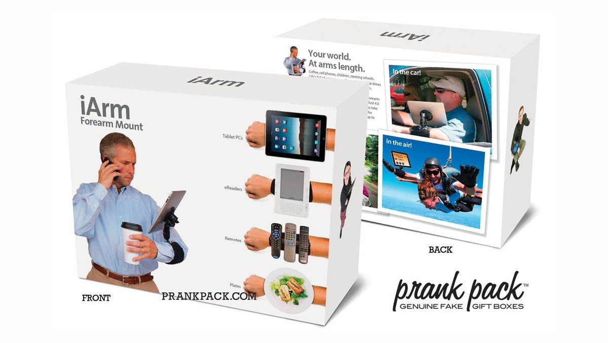 Prank Packs Invented by a group of jokesters who left The Onion to start a venture of their own, Prank Packs are empty gift boxes designed to fool recipients into thinking they contain ridiculous products that don't really exist. Exhibit A: The iArm, a patently preposterous wrist-mount for everything from iPads to dinner plates. ($8.00; www.prankpack.com)