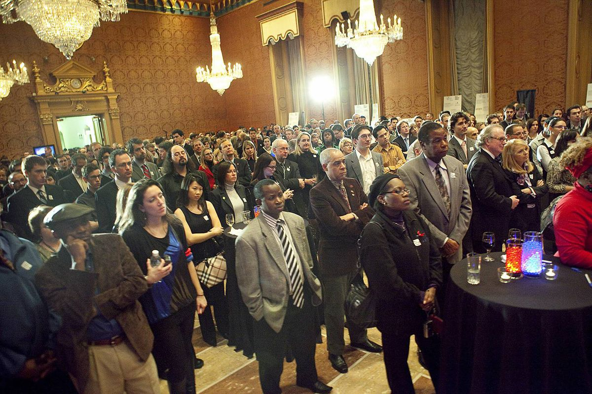 The crowd packs the West Block ballroom to hear a presentation on the dire situation on the ground in Haiti.