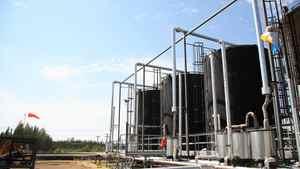 Oil storage tanks at Cenovus's operations at Pelican Lake