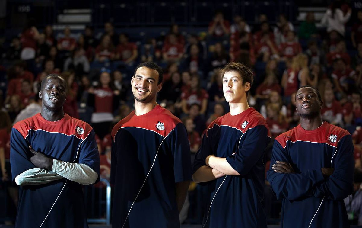 Bol Kong Robert Sacre, Kelly Olynyk and Manny Arop are Gonzaga University's four Canadian players in Spokane, Wash.