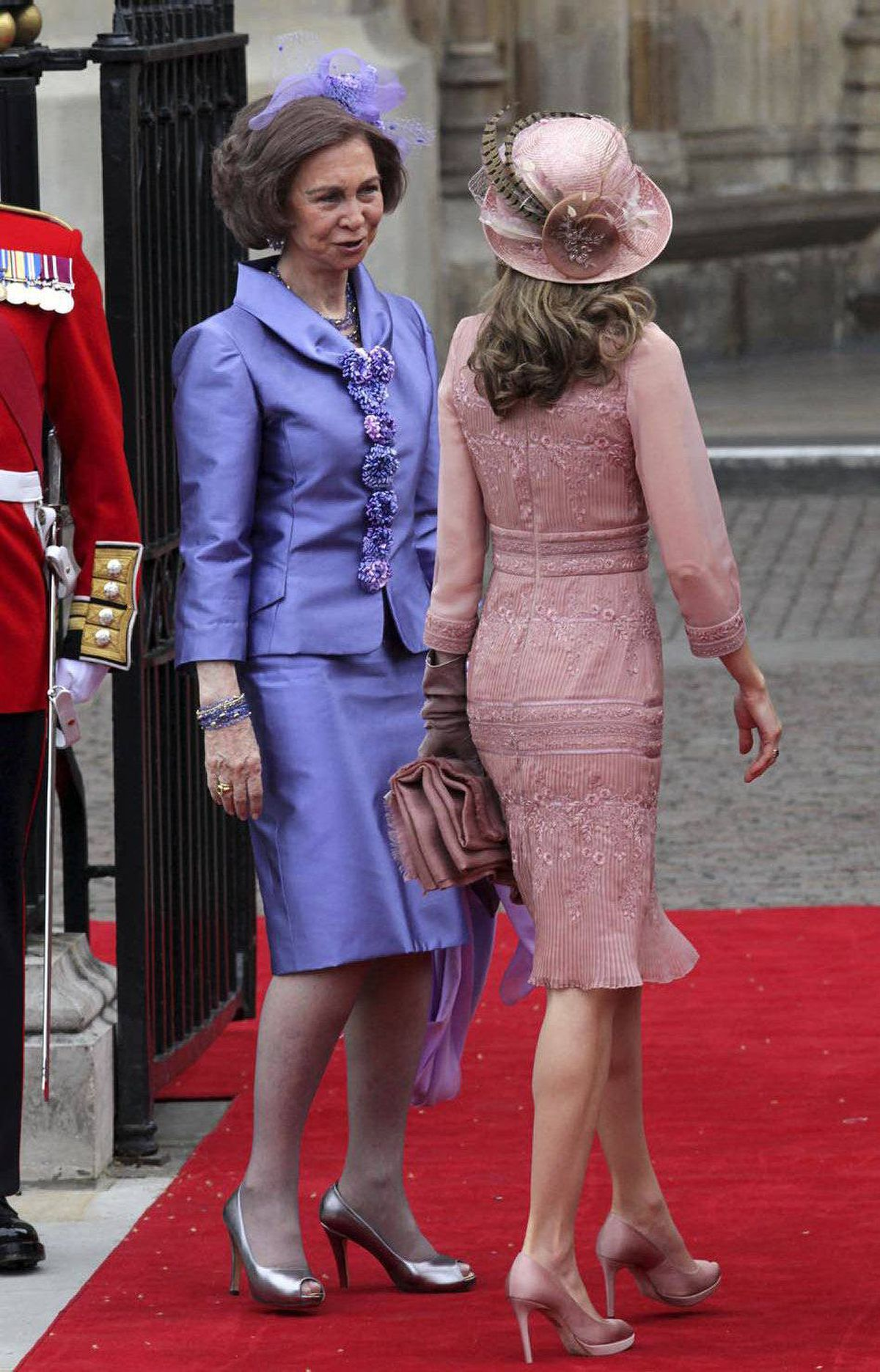 Queen Sofia of Spain and Princess Letizia of Asturias arrive to attend the Royal Wedding of Prince William to Catherine Middleton at Westminster Abbey on April 29, 2011 in London, England.