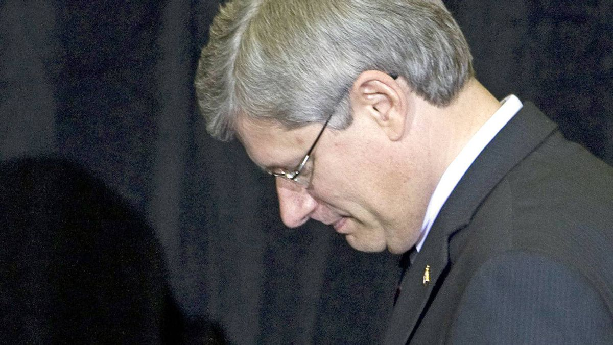 Prime Minister Stephen Harper makes his way off stage after a speaking engagement in Ottawa on Oct. 13, 2010.
