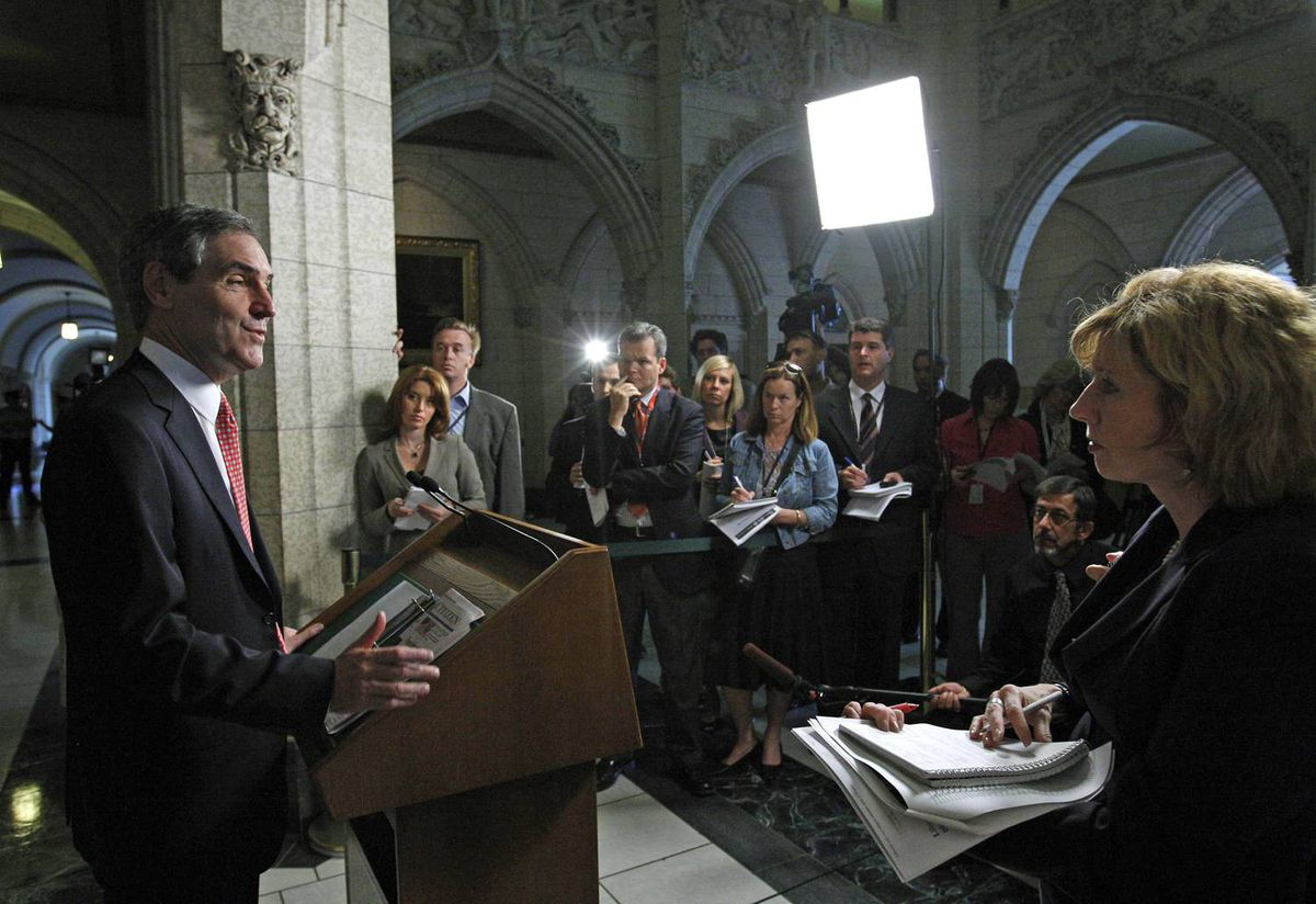 Liberal Leader Michael Ignatieff rules out forming a coalition government with the NDP and the Bloc Quebecois during a news conference in the foyer of the House of Commons on Sept. 11, 2009.