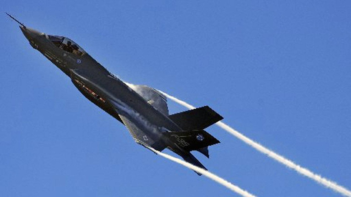 An F-35 fighter jet takes part in an aircraft test at Florida's Eglin Air Force Base.