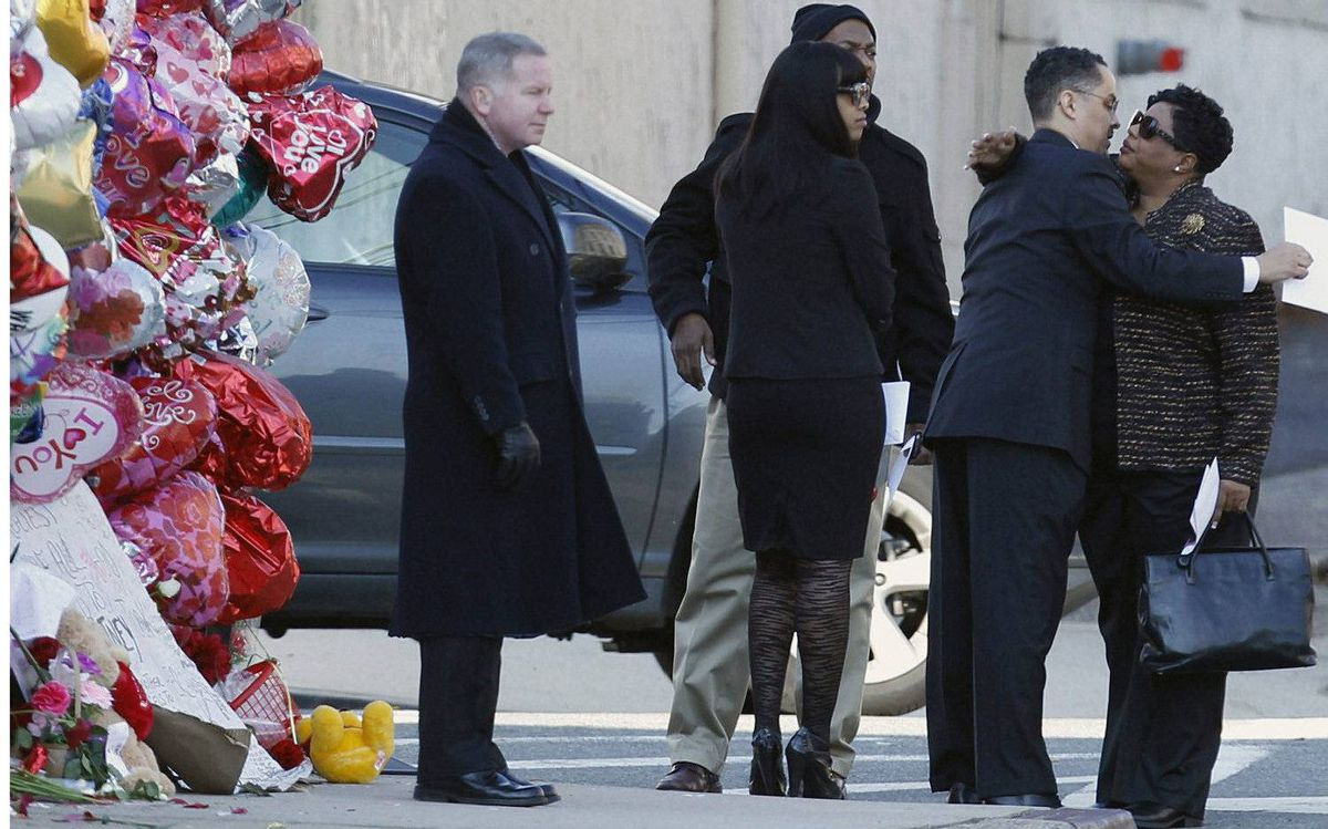 Close family and friends arrive for the funeral service of pop singer Whitney Houston at the New Hope Baptist Church in Newark, New Jersey February 18, 2012.