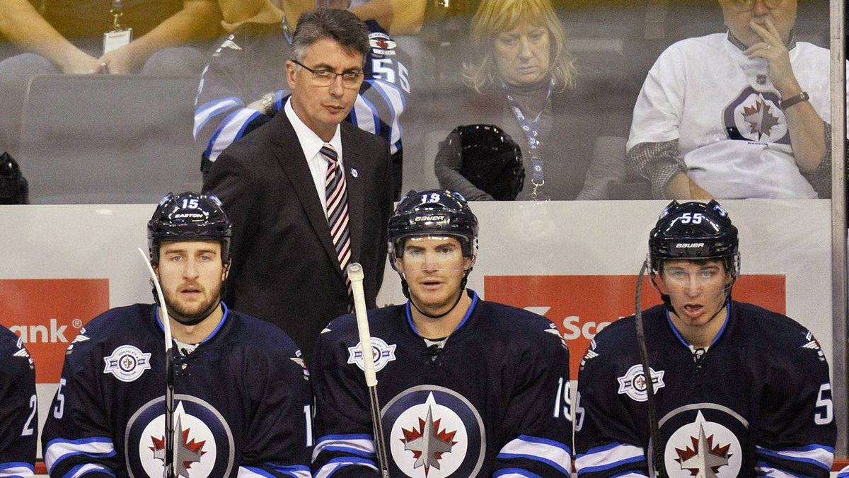 Winnipeg Jets' head coach Claude Noel is upset at Shaw Communications for glitches in the cable company's Jets broadcasts. REUTERS/Fred Greenslade
