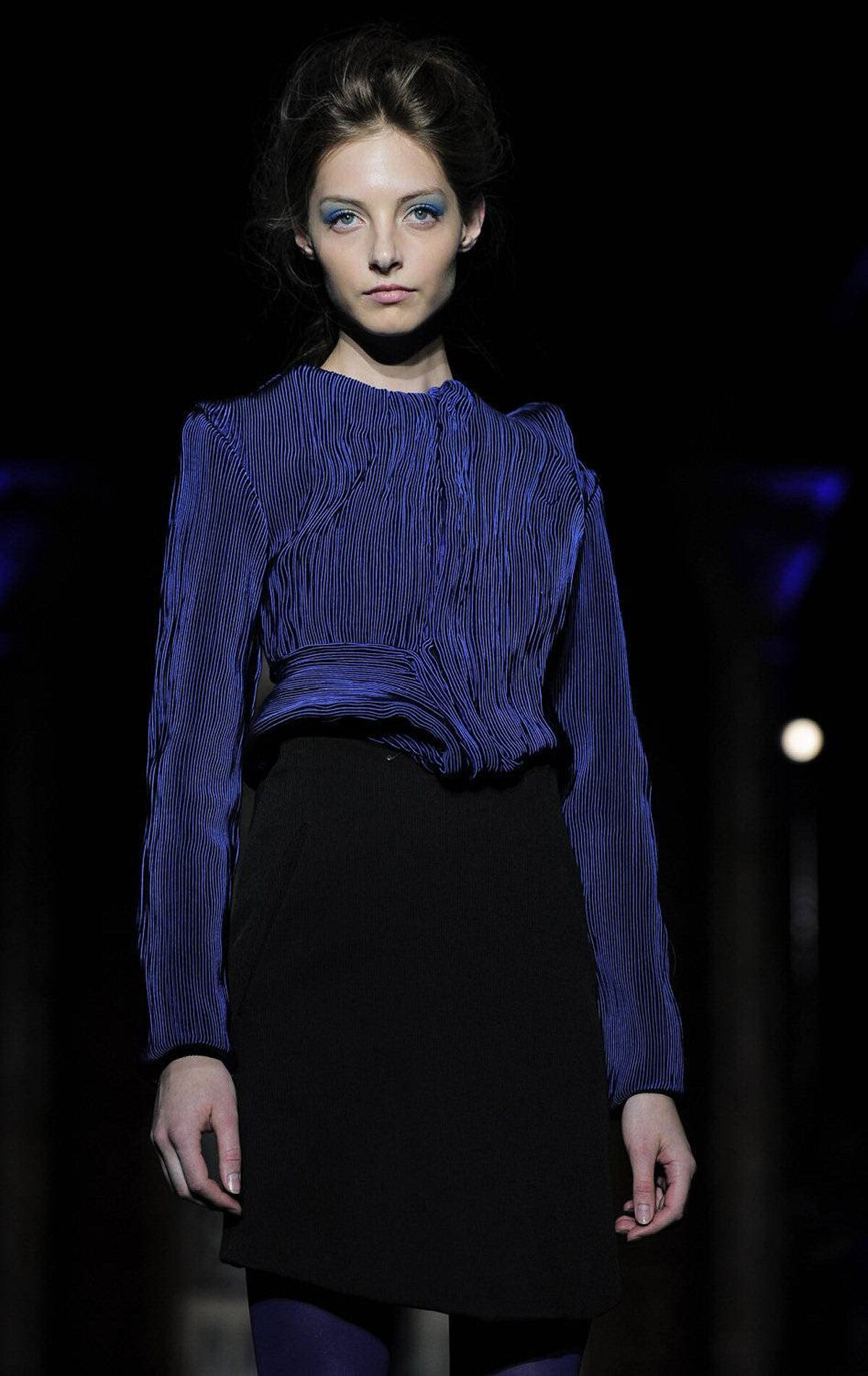 A model presents designs by Steffie Christiaens during the 080 Barcelona Fashion spring-summer week on July 13, 2011.