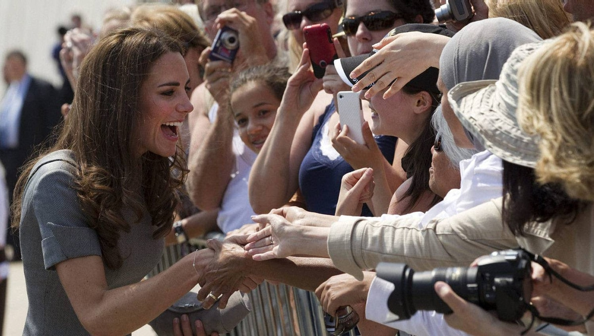 The Duchess of Cambridge greets admirers at the War Museum in Ottawa on Saturday July 2, 2011.