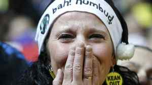 A Blackburn Rovers supporter cries following their English Premier League soccer match against Bolton Wanderers at Ewood Park in Blackburn, December 20, 2011. REUTERS/Phil Noble