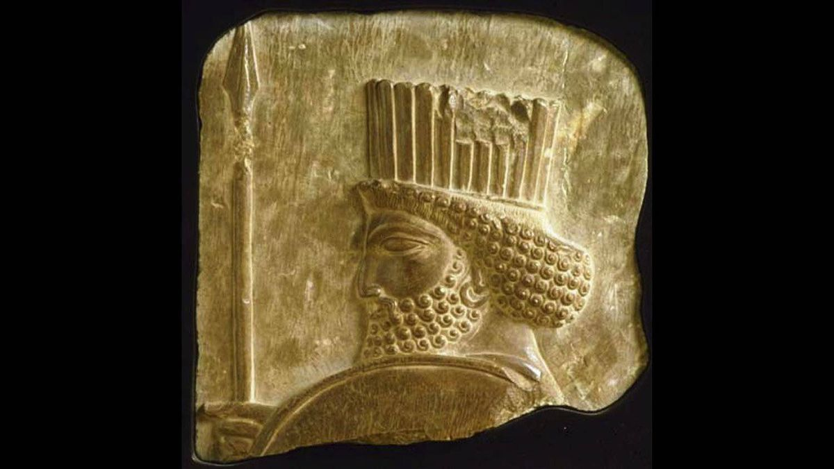 Achaemenid dynasty (558-330 B.C.) Head of a Guard (Fragment of a low relief 5th c. B.C. Sandstone 21 x 20.5 x 3 cm