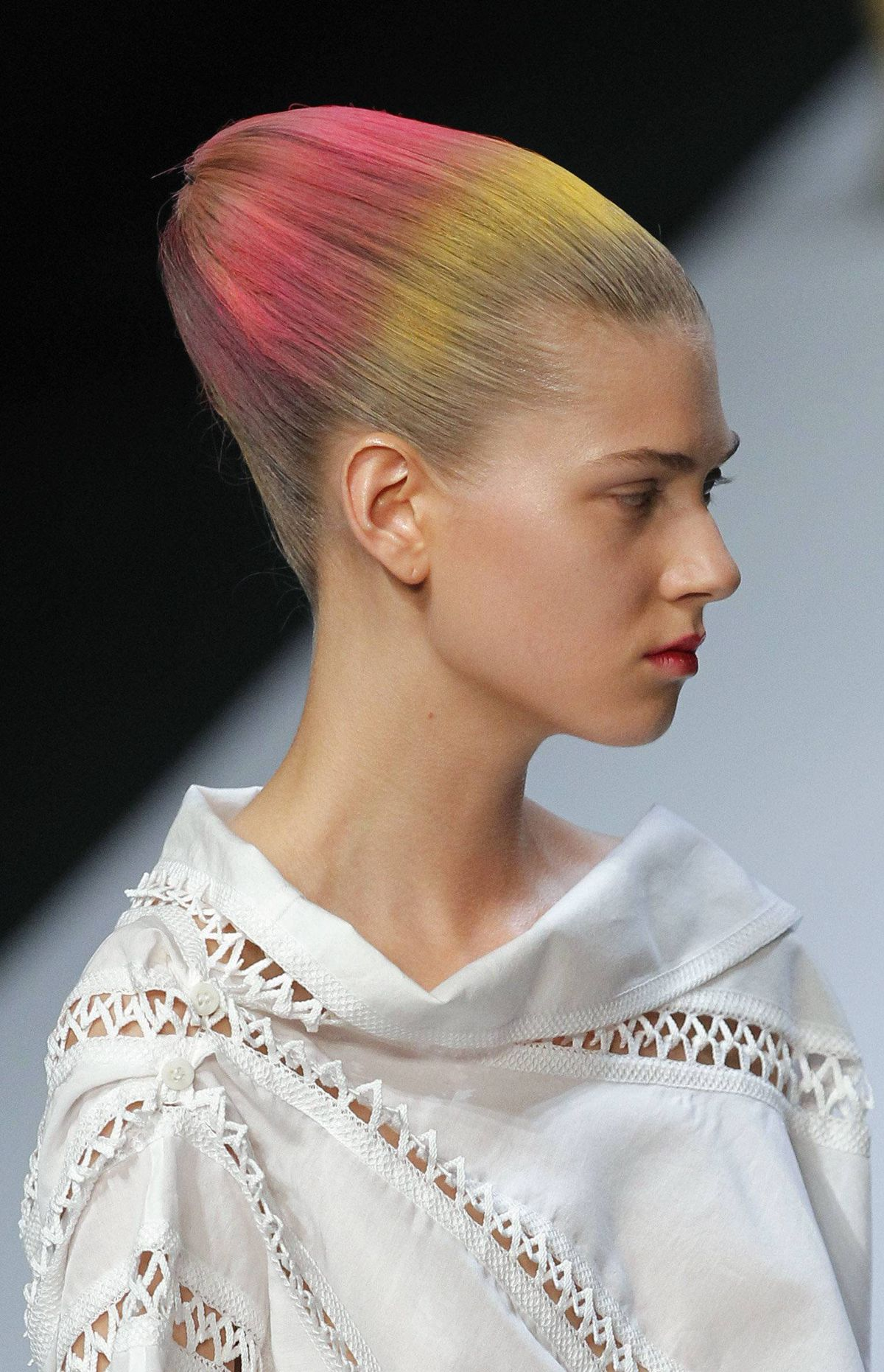 Issey Miyake Spring/Summer 2012 ready-to-wear collection The biggest risk of a stunning hair statement is that it detracts from the clothes. This was the case at Issey Miyake, now designed by Yoshiyuki Miyamae.