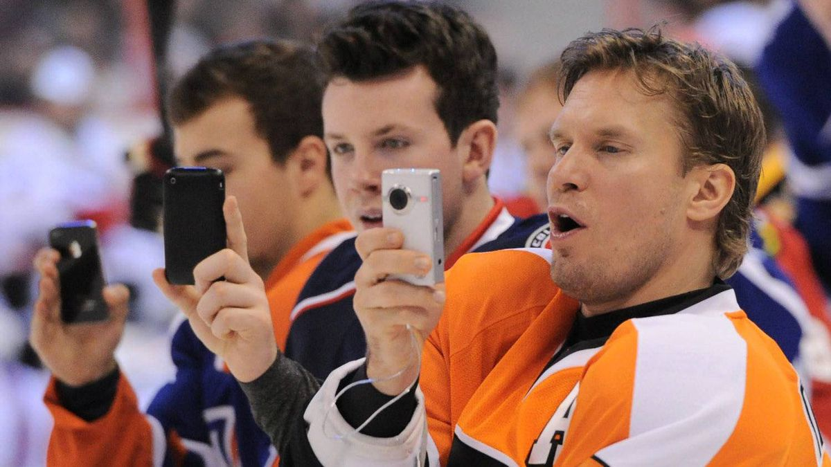 Philadelphia Flyers' Kimmo Timonen captures the Hardest Shot event along with his teammates during the NHL All-Star skills competition in Ottawa on Saturday, January 28, 2012. THE CANADIAN PRESS/Sean Kilpatrick