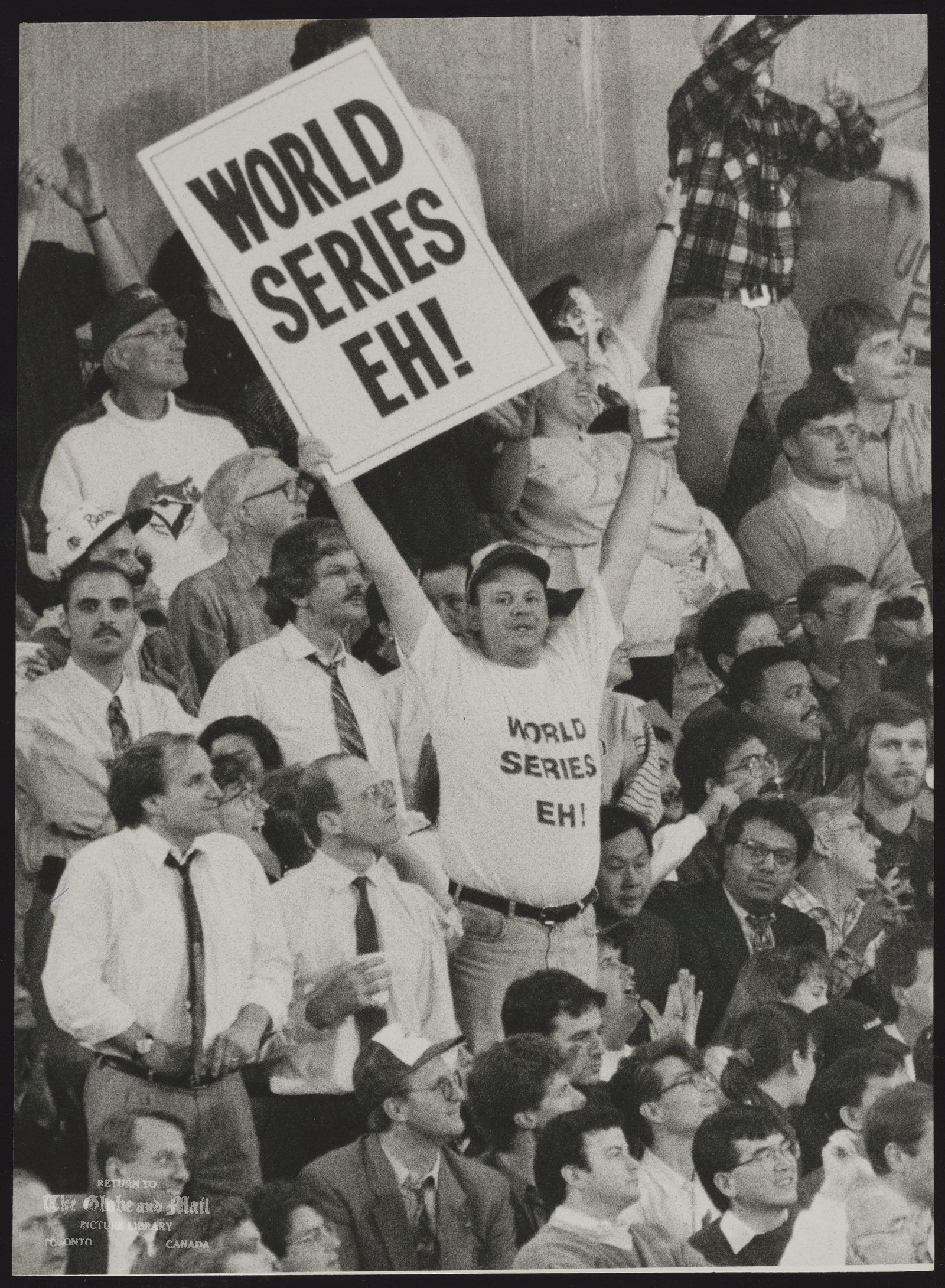 TORONTO BLUE JAYS BASEBALL CLUB 1992 BLUE JAY FANS CHEER ON THEIR TEAM DURING WEDNESDAY'S HISTORIC GAME AGAINST THE OAKLAND ATHLETICS.