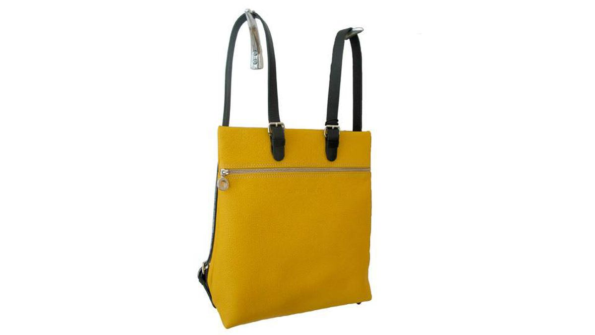 Carry it Peter Kent's Amarillo backpack is built for urbane adventurers. Before hitting the cafés, museums and boutiques around town, secure your valuables in the two roomy zippered compartments, tuck your mobile phone in the interior pocket and make use of the handy interior silver clipped key holder. The pebbled-leather bag comes in a selection of bright spring colours including lilac, violet and cognac. $550, peterkentcanada.com