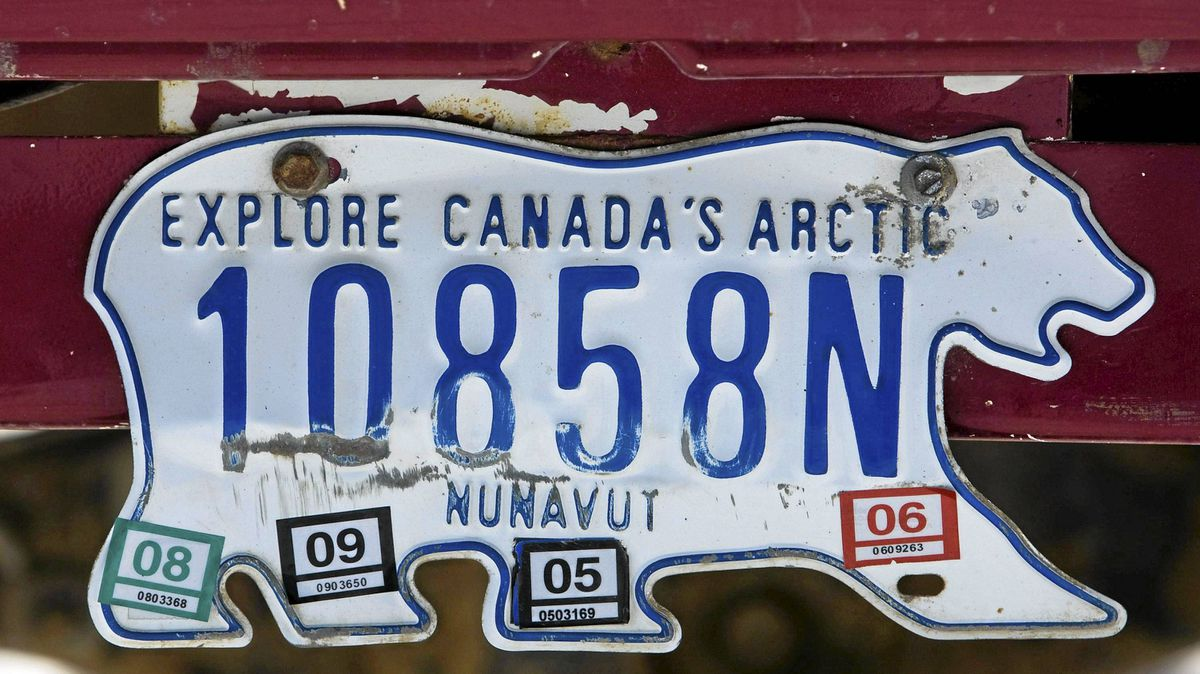 A Nunavut licence plate in the city of Iqaluit on March 29, 2009. The government of Nunavut has announced a contest to design something to replace its distinctive bear-shaped licence plates, Wednesday Aug. 3, 2011.