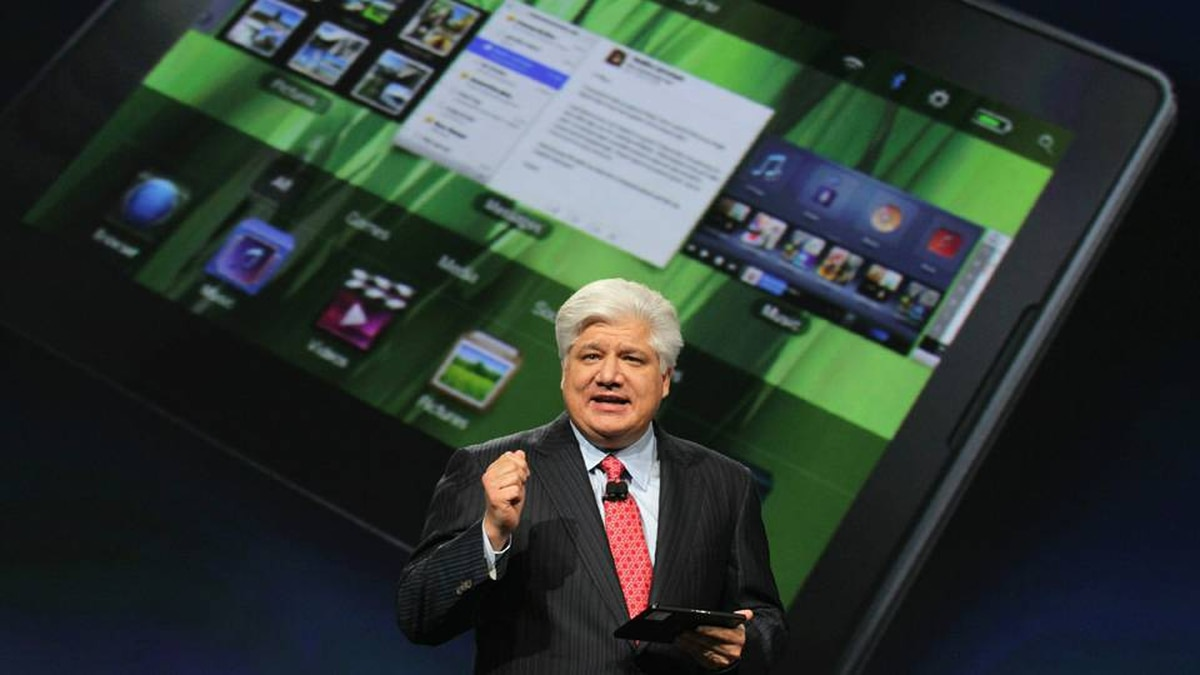 RIM President and Co-Chief Executive Officer Mike Lazaridis announces the new BlackBerry PlayBook as he delivers a keynote address at the BlackberryDevCon 2010 on September 27, 2010 in San Francisco, California.