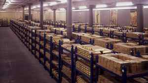 Gold Bullion in the vaults at the Bank of England.