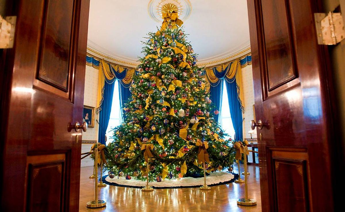 The official White House Christmas tree is displayed in the Blue Room.