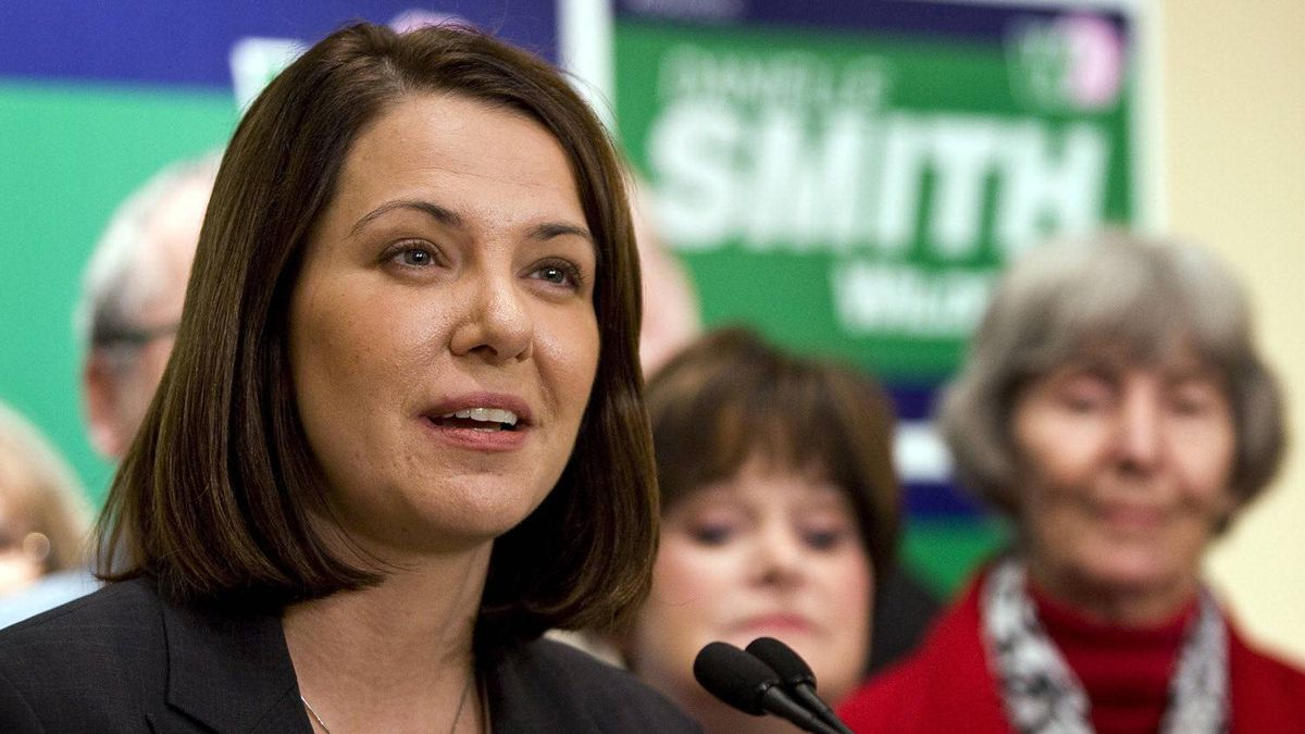 Wildrose party leader Danielle Smith makes a policy announcement in Okotoks, Alta., Tuesday, March 27, 2012.