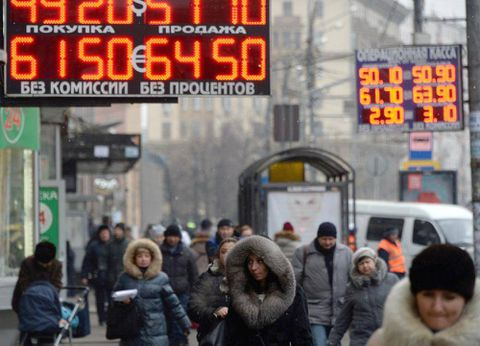 Russian ruble plunges as economy hit hard by falling oil prices, sanctions