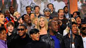 Singers including Celine Dion, Toni Braxton, Barbra Streisand, LL Cool J, Harry Connick Jr., Wyclef Jean, Vince Vaughn, Jeff Bridges and Natalie Cole perform at the We Are The World 25 Years for Haiti recording session at Jim Henson Studios in Hollywood. Kevin Mazur/Getty Images