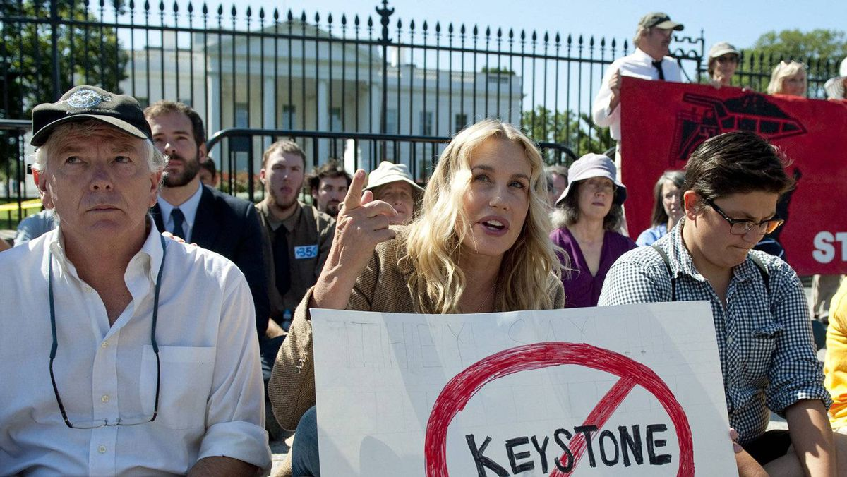 Actress Daryl Hannah protests against a the proposed Keystone XL oil pipeline in front of the White House on Aug. 30, 2011.