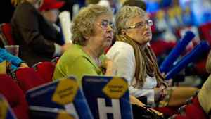 Tory supporters watch as results begin to come at Tim Hudak's Ontario election night headquarters in Niagara Falls on Oct. 6, 2011.