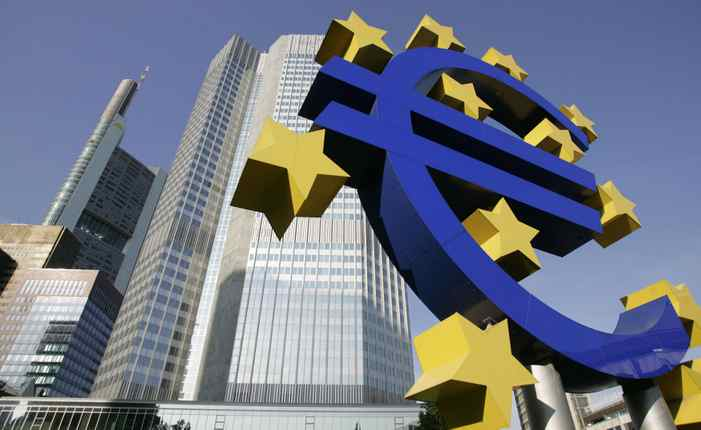 A picture taken 28 June 2005 shows a giant Euro symbol, standing in front of Frankfurt's Eurotower, which houses the European Central Bank (ECB).