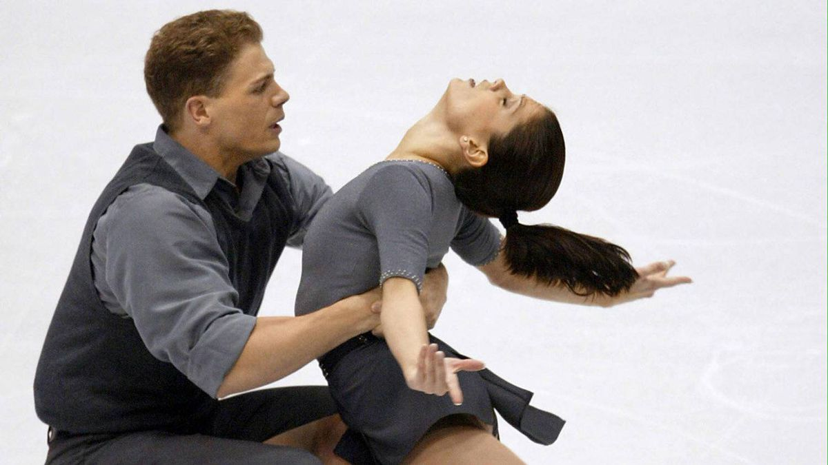Canadians Jamie Salé and David Pelletier perform their pairs free program at the Olympic Ice Center, Feb. 11, 2002 during the XIXth Winter Olympics in Salt Lake City. Sale and Pelletier won the silver medal.