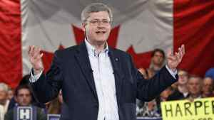 Stephen Harper addresses a rally in St. Catharines, Ont., on April 27.