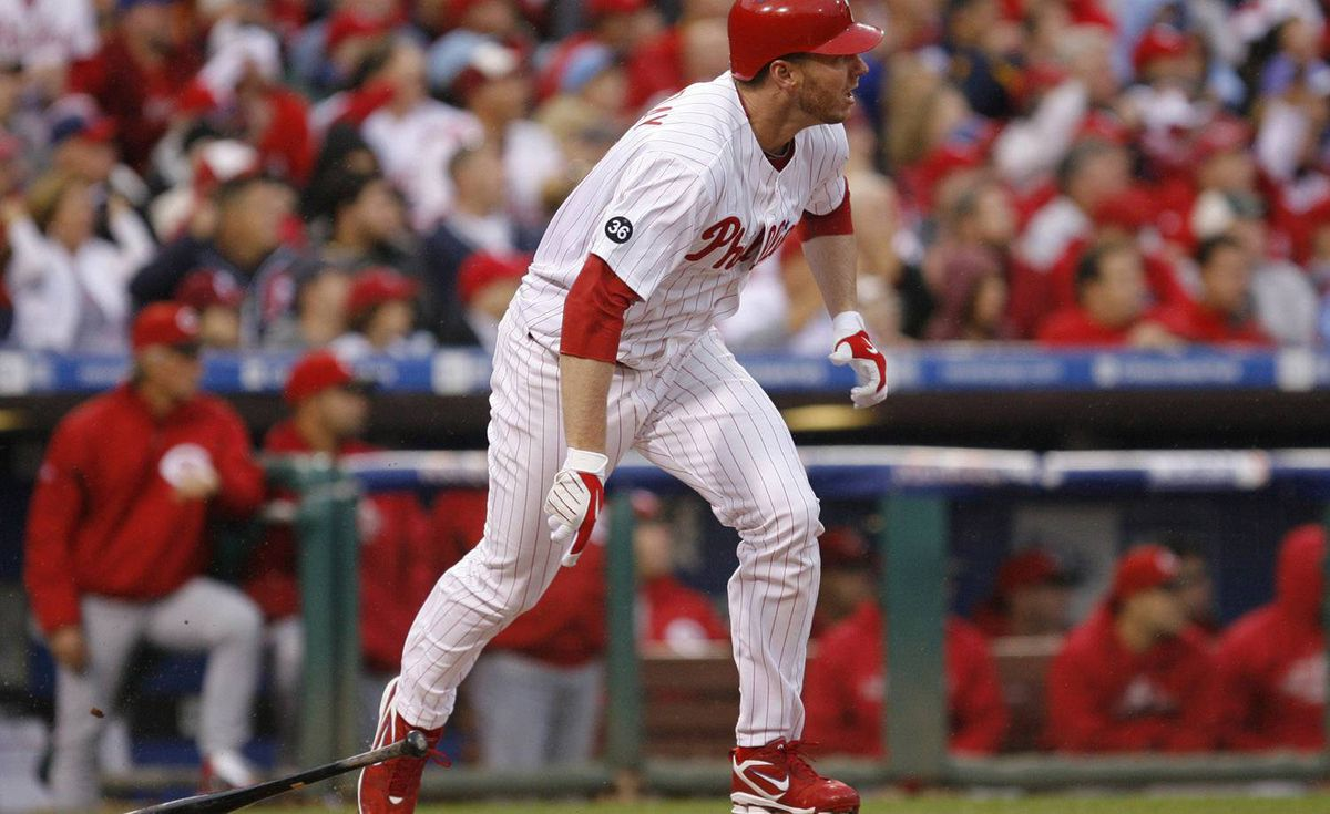 Philadelphia Phillies pitcher Roy Halladay hits an RBI single to score Carlos Ruiz during the second inning of play against the Cincinnati Reds in Game 1 of the MLB National League Division Series baseball playoffs in Philadelphia, Pennsylvania, October 6, 2010. REUTERS/Tim Shaffer