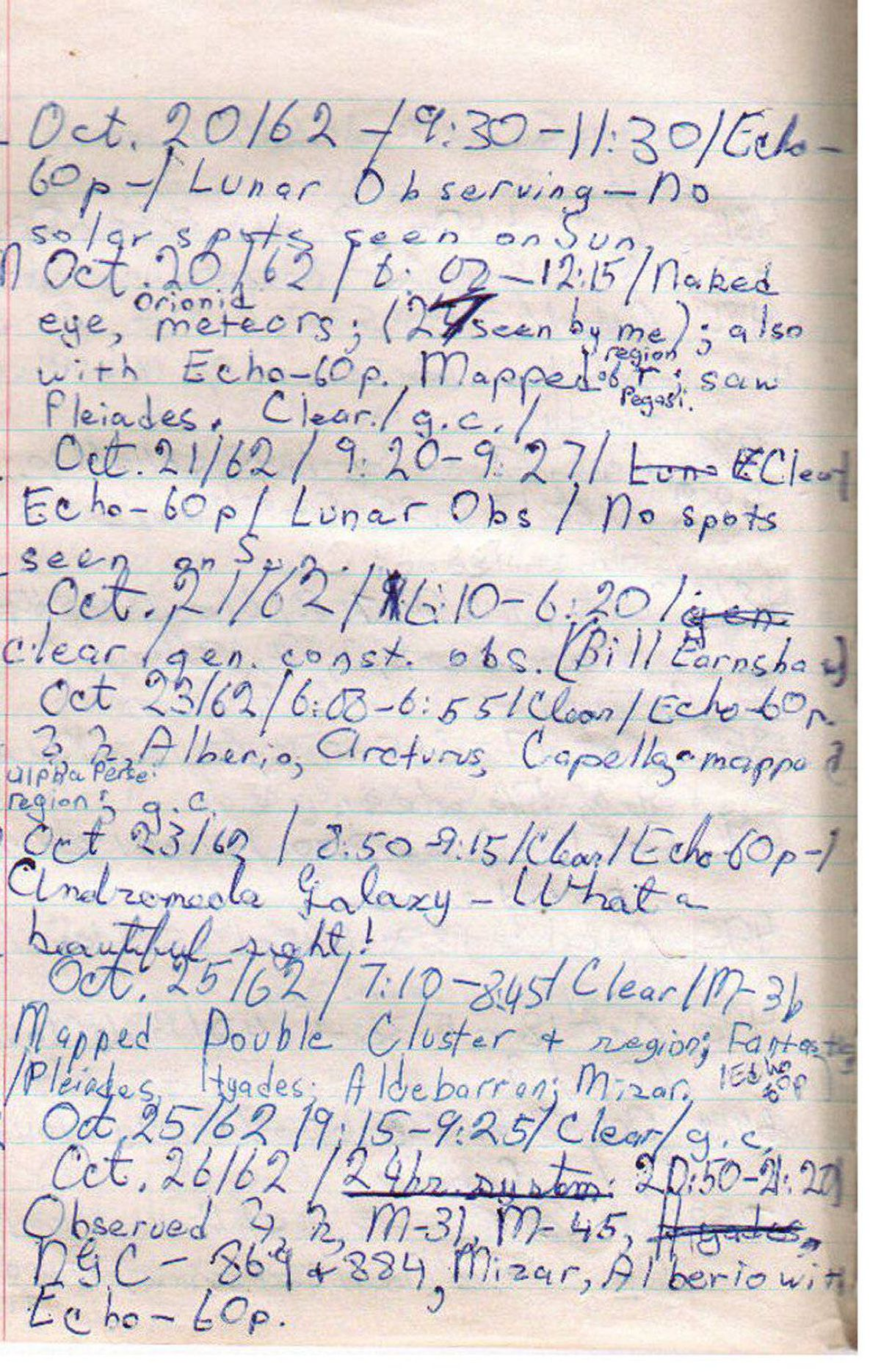 Logbook of: Levy, David H. - Volume 1, Page 3 50SL Oct. 20/62 9:30-11:30/Echo-60p-/Lunar Observing- No solar spots seen on Sun. *50EM Oct.20/62 8:00-12:15/Naked eye, Orionid meteors; (27 seen by me); also with Echo-60p. Mapped region of R Pegasi; saw Pleiades. Clear/g.c. 51SL Oct.21/62 9:20-9:27/Clear/Echo-60p/Lunar Obs/No spots seen on Sun 51E Oct.21/62 6:10-6:20/clear/gen. const. obs. (Bill Earnshaw) *52E Oct 23/62/6:00-6:55/Clear/Echo-60p Jupiter, Saturn, Alberio, Arcturus, Capella, mapped Alpha Persei region, g.c. 52E2 Oct 23/60/8:50-9:15/Clear/Echo-60p-/Andromeda Galaxy-What a beautiful sight! *53E Oct.25/62/7:10-8:45/Clear/M-31, Mapped Double Cluster + region; Fantastic/Pleiades, Hyades; Albdebaran, Mizar. Echo-80p. 53E2 Oct 25/62/9:15-9:25/Clear/g.c. 54E Oct.26/62/20:50-21:20 Observed Jupiter, Saturn, M-31, M-45, NGC-869+884, Mizar, Alberio with Echo-60p.