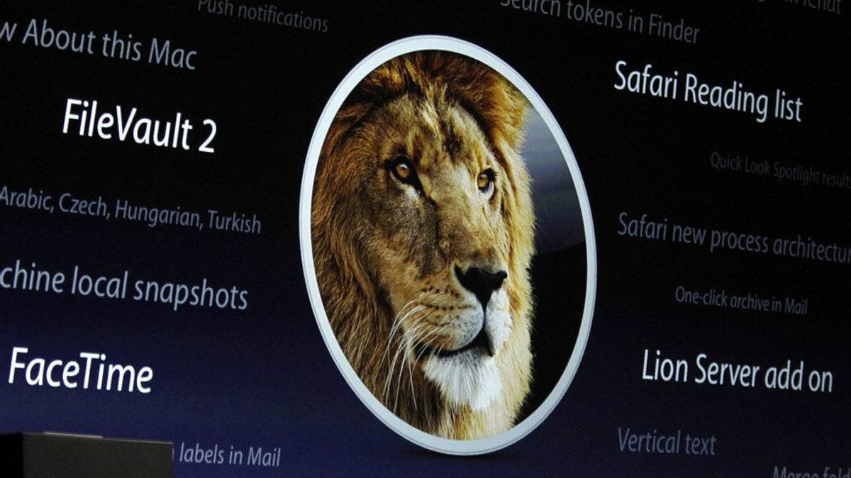 A screen projection of the OS X Lion features is pictured during the Apple Worldwide Developers Conference in San Francisco, California, June 6, 2011.
