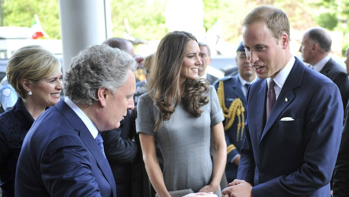 The Duke and Duchess of Cambridge are greeted by Quebec Premier Jean Charest and his wife Michelle Dionne at Ste-Justine Hospital in Montreal Saturday, July 2, 2011.
