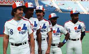 Montreal Expos players (left to right) Gary Carter, Andre Dawson, Steve Rogers, Tim Raines and Al Oliver pose for a photo before the All-Star game in in Montreal, July 13, 1982. Baseball owners have voted overwhelmingly to begin work on killing off two of their weaker sisters. In baseball terms, it's called contraction and it could spell the end of the Montreal Expos and their rich history.