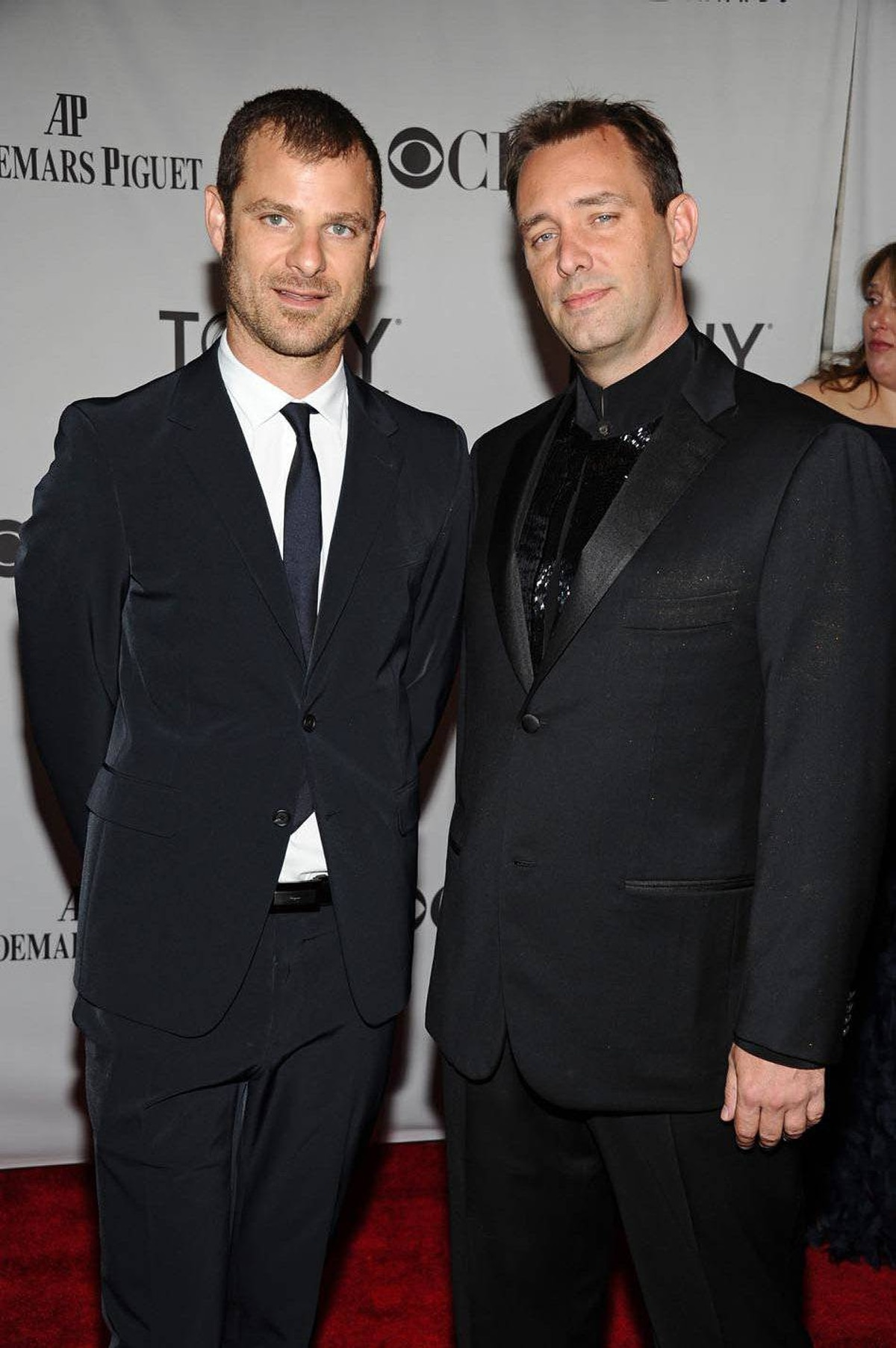 Matt Stone, left, and Trey Parker arrive at the 65th annual Tony Awards, Sunday, June 12, 2011 in New York.