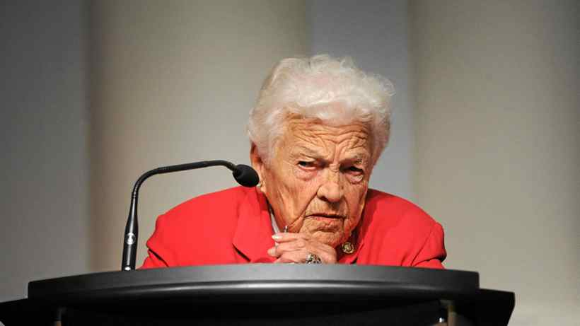 Mississauga mayor Hazel McCallion address the media and public on Oct 3 2011 after the findings of a judicial inquiry were made public.