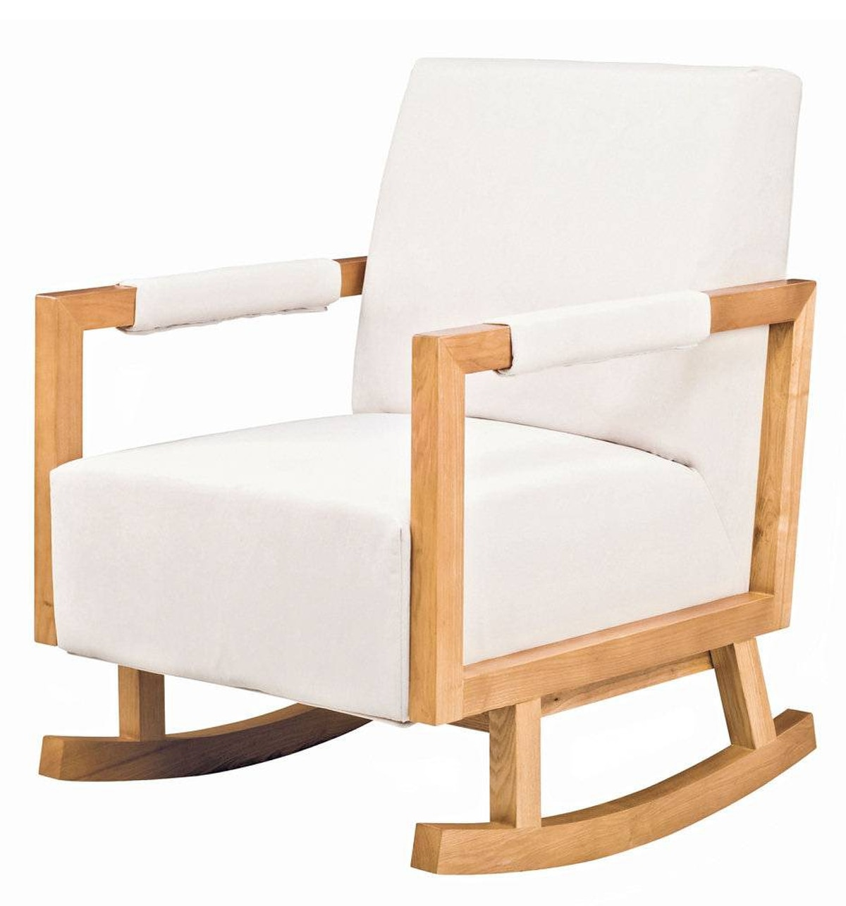 Nurseryworks' Bungalow Rocker is available in your choice of light ash or dark ash wood frame and cozy microsuede fabric upholstery in grey, brown or white. $899 at Ella + Elliot (www.ellaandelliot.com).