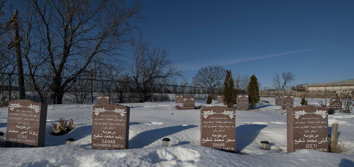 The gravestones of (left to right) Rona Amir Mohammad, Zainab Shafia, Sahar Shafia and Geeti Shafia in the Islamic cemetery in Laval Qc. on Monday, Jan. 30, 2012.