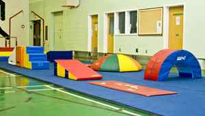 Tumble floor and obstacle course set-up.