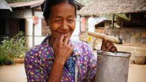 A resident of Phwa Saw village, in the central Myanmar region of Bagan, enjoys a large cheroot. Elders can be seen smoking the massive cigars, but visitors are more likely to see locals chewing betel nut, which stains the lips bright red.