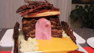 """YouTube channel Epic Meal Time is by a crew of 10 Montrealers known for their Internet videos of outrageous, grease-laden dishes, such as this steak-and-Cheez-Whiz-laden """"gingerbread house"""""""