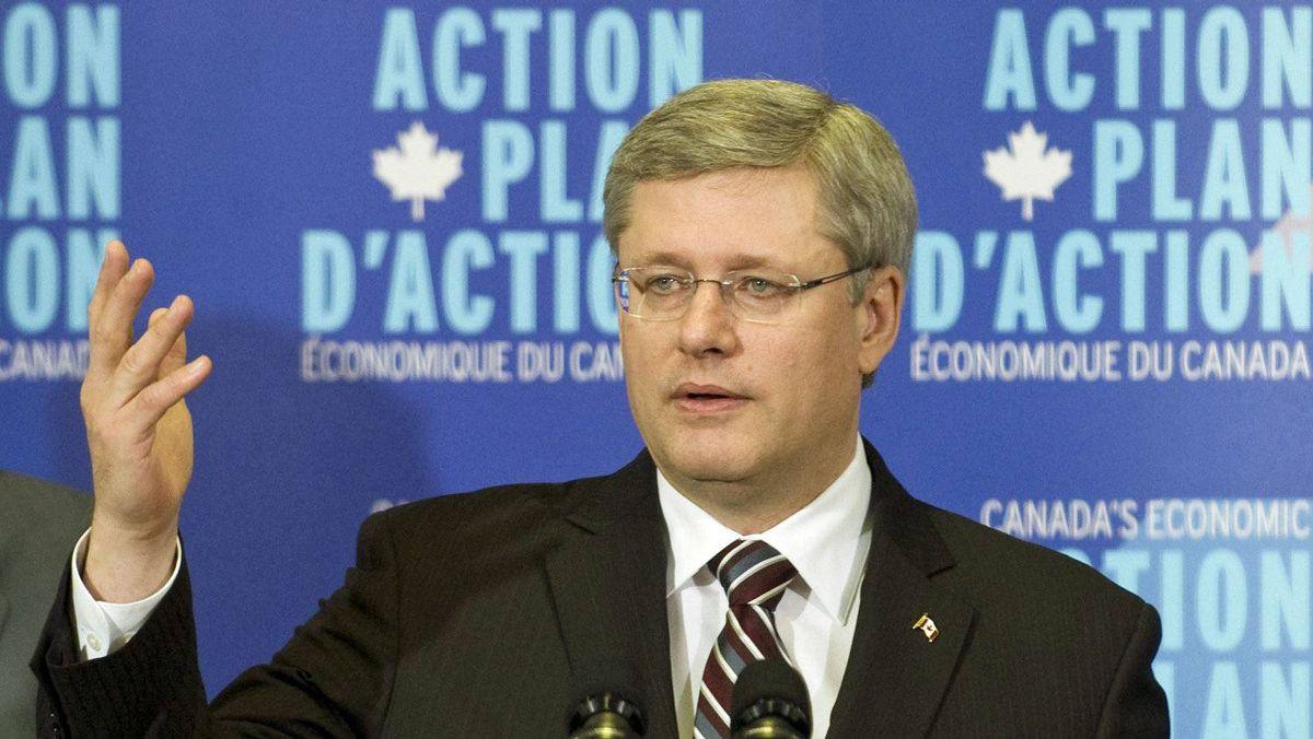 Prime Minister Stephen Harper holds a news conference at paper plant in Windsor, Que., on Jan. 6, 2011