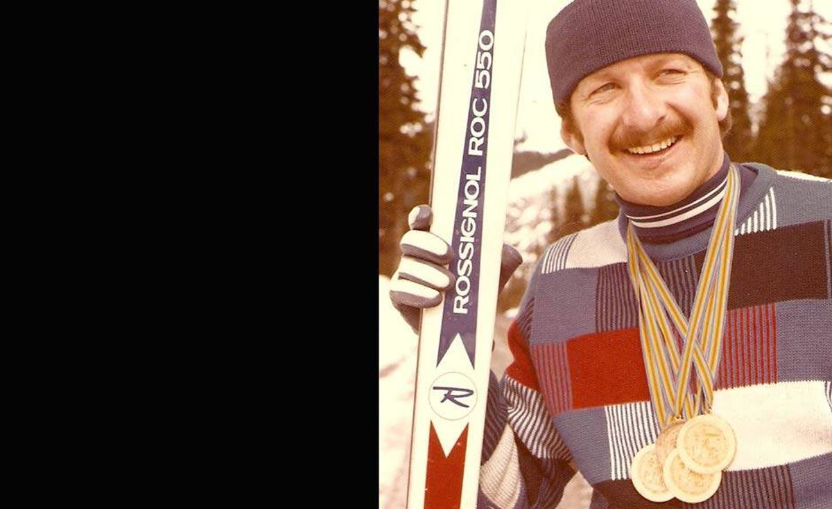 'Here's our Dad, John Gow, at the 1974 Disabled Alpine Skiing World Championships. Clearly a rad moustache, along with his colour coordinated skis, hat and sweater, gave him an edge over the competition,' write David and Michelle Gow.