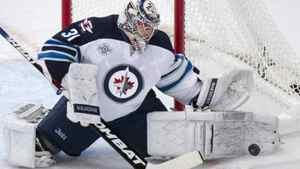 Winnipeg Jets goalie Ondrej Pavelec makes a save against the New York Rangers Jan. 24, 2012.