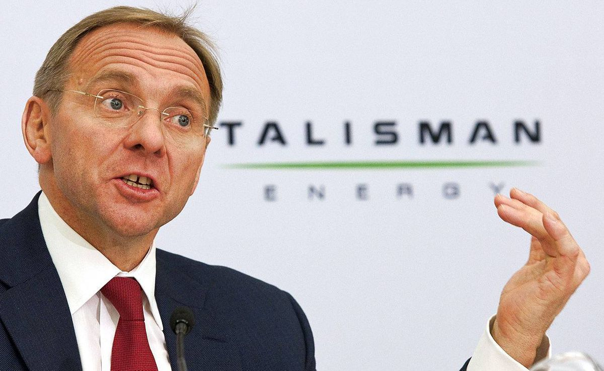 President and CEO of Talisman Energy, John Manzoni, addresses the media following the company's annual meeting in Calgary, Wednesday, May 5, 2010. THE CANADIAN PRESS/Jeff McIntosh