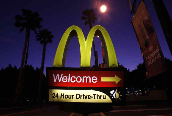 A McDonald's drive-thru sign in Los Angeles.