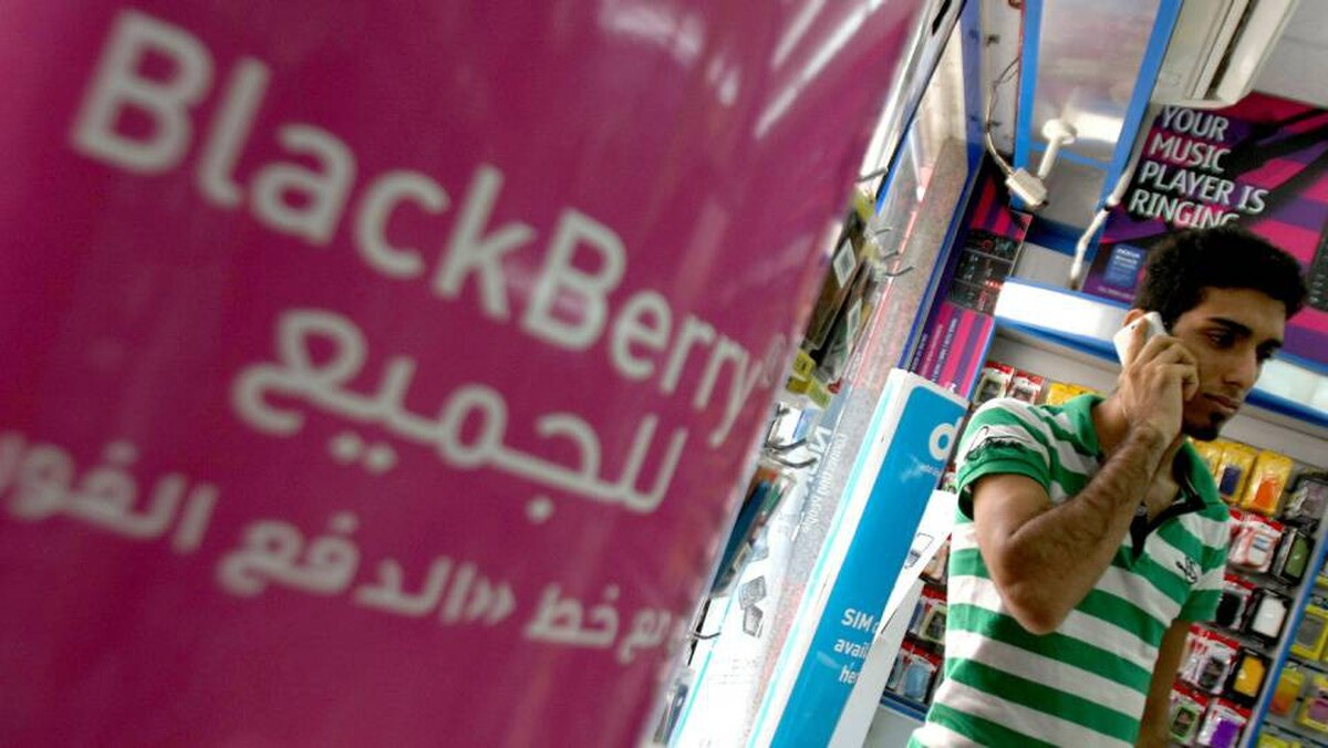 A sign advertising the BlackBerry mobile phone is seen at a shopping mall in Dubai on August 01, 2010, as the Gulf business hub stated it will suspend key BlackBerry services from October because they are incompatible with local laws and raise security concerns.