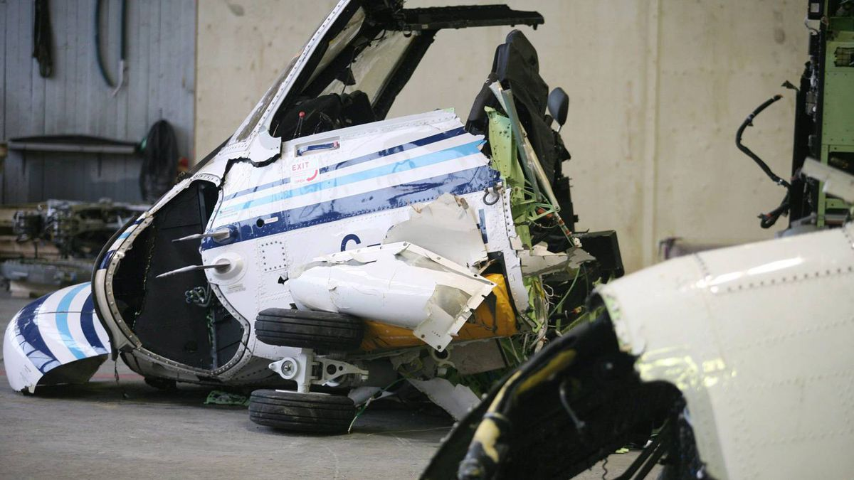 The wreckage of Cougar Helicopters flight 491 is displayed in St. John's.